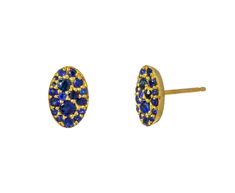 Oval Blue Sapphire Stud Earrings