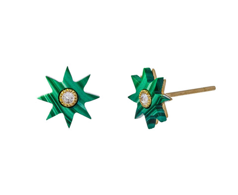 Malachite Star Stud Earrings
