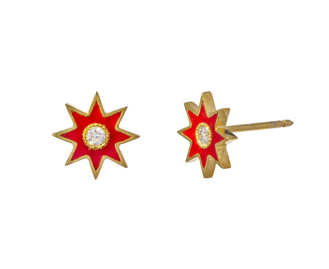Red Twinkle Star Stud Earrings