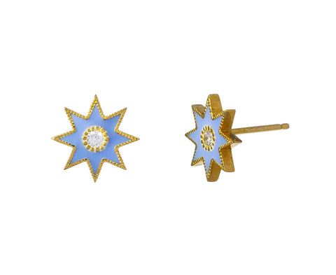Blue Twinkle Star Stud Earrings