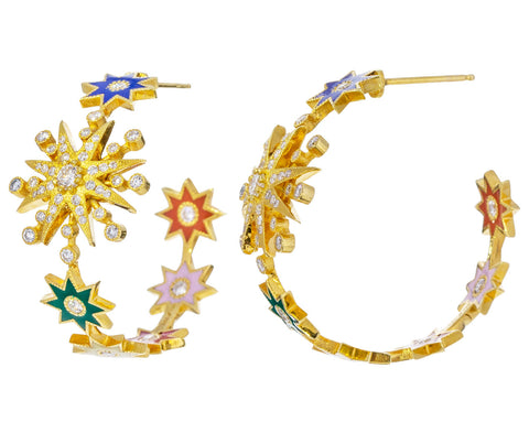 Rainbow Star Hoop Earrings - TWISTonline
