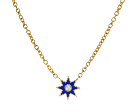 Blue Enamel Star Pendant Necklace