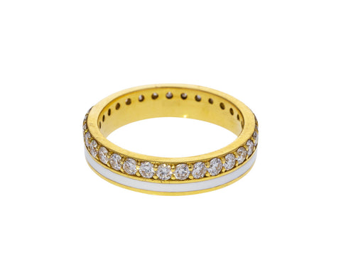 White Enamel and Diamond Band