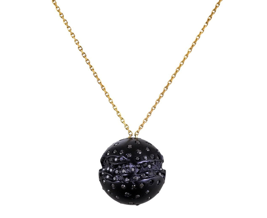 Medium Whitby Jet Pendant Necklace with Black Diamonds - TWISTonline