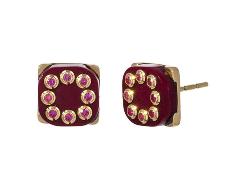 Burgundy Bakelite and Pink Sapphire Earrings - TWISTonline