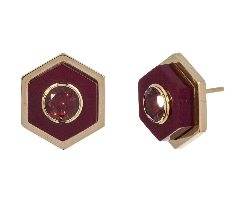 Large Hexagon Burgundy Bakelite and Garnet Earrings zoom 1_mark_davis_bakelite_gold_earrings