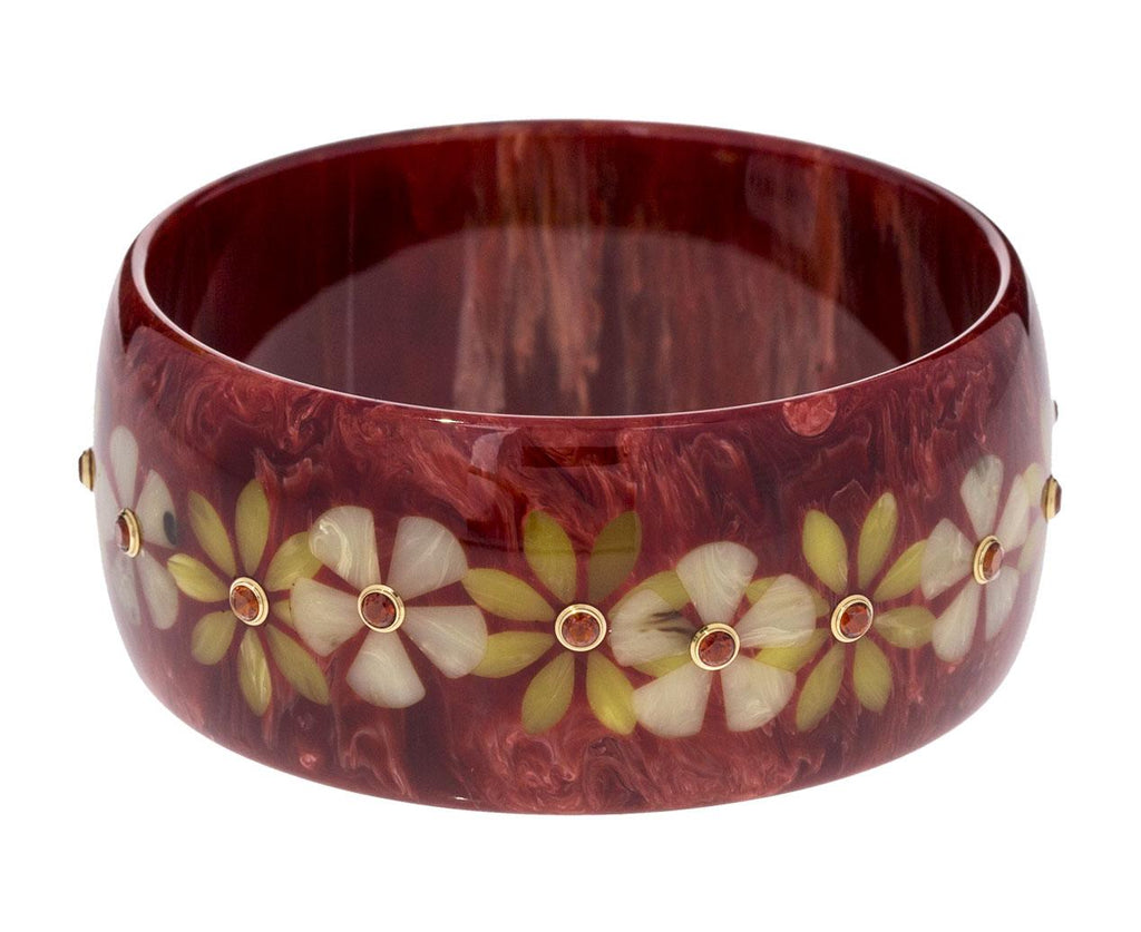 Marbled Burgundy Bakelite with Yellow Inlay Flowers and Citrine Bracelet zoom 1_mark_davis_bakelite_gold_mixed_gems_bracelet