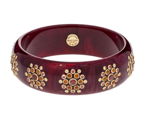 Marbled Burgundy Bakelite Bracelet with Garnet, Citrine and Yellow Sapphire Flowers - TWISTonline