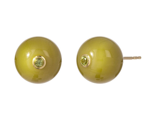 Round Green Bakelite with Peridot Earrings - TWISTonline