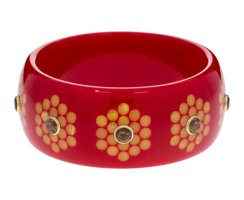 Red Bakelite Bracelet with Yellow Inlay and Smoky Quartz - TWISTonline