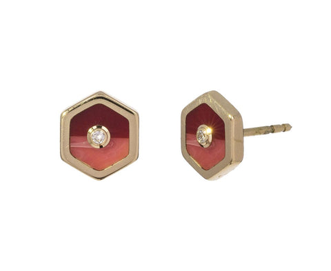 Pink Marbled Bakelite and Diamond Earrings - TWISTonline
