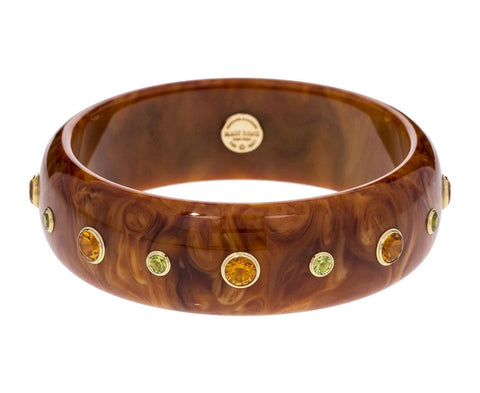 Brown Marbled Bakelite with Citrine and Peridot Bracelet - TWISTonline