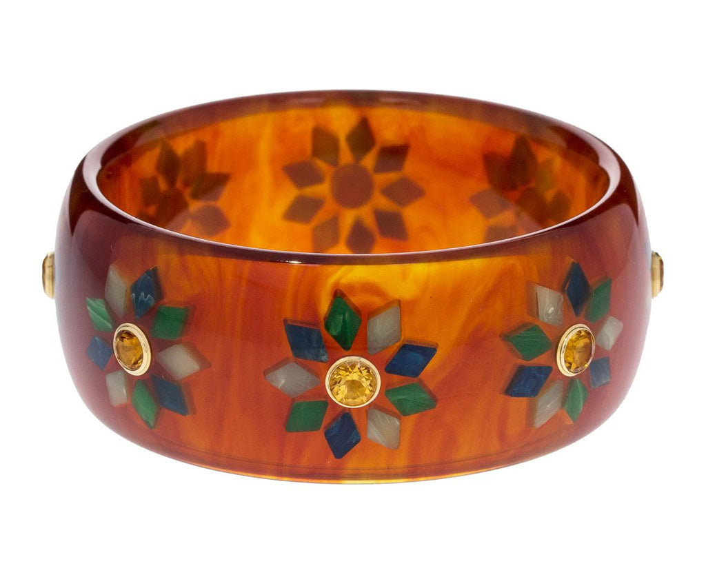 Amber Bakelite Bracelet with Floral Inlay and Citrine zoom 1_mark_davis_bakelite_gold_mixed_gems_bracelet