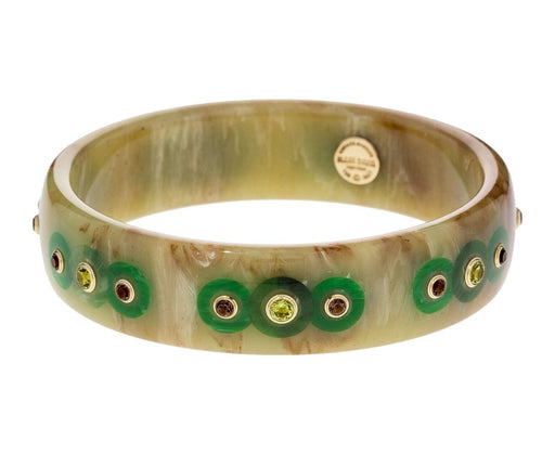 Marbled Bakelite Bangle with Peridot and Smoky Quartz - TWISTonline