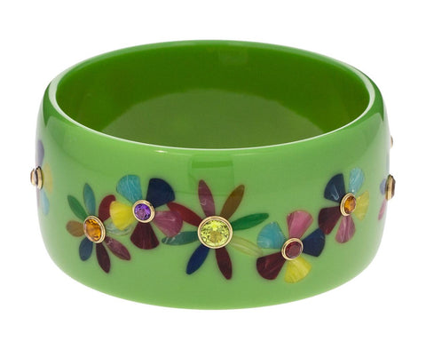 Green Bakelite Bangle with Multi-Color Flowers - TWISTonline