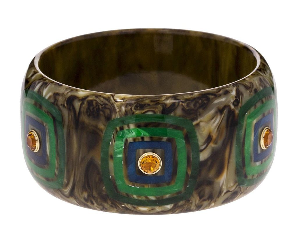 Marbled Moss Green Bakelite with Inlay Squares and Citrine Bracelet zoom 1_mark_davis_bakelite_gold_mixed_gems_bracelet