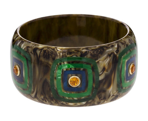 Marbled Moss Green Bakelite with Inlay Squares and Citrine Bracelet - TWISTonline