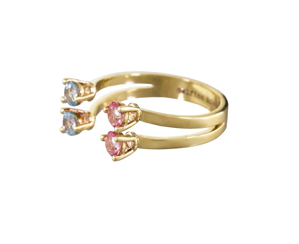 Pink and Blue Topaz Dots Ring - TWISTonline