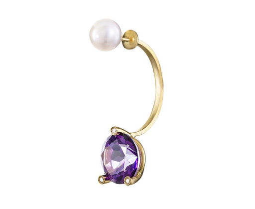 Purple Topaz Magic Triangle Earring with Pearl and Diamonds SINGLE EARRING ONLY - TWISTonline