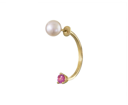 Pink Sapphire and Pearl Dot Piercing Earrings SINGLE EARRING ONLY - TWISTonline