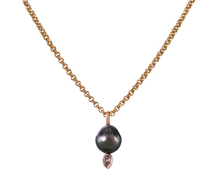 Tahitian Pearl and Diamond Charm Pendant - TWISTonline