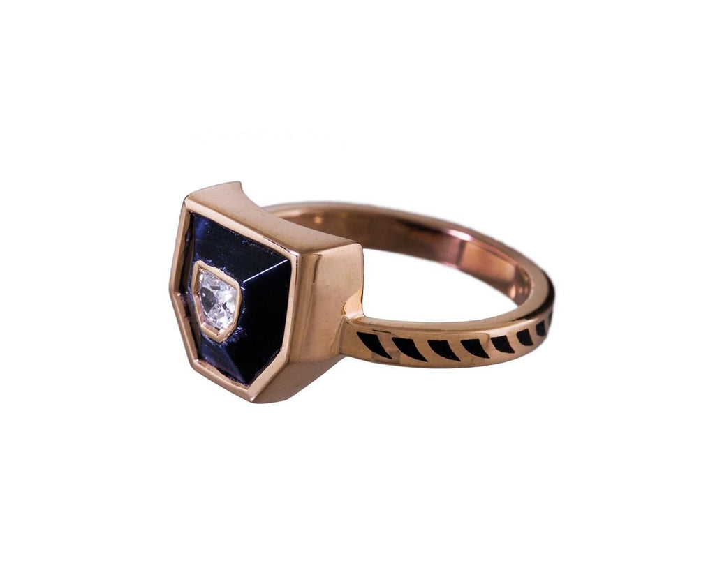 Deco Blue Tiger's Eye and Diamond Shark Fin Jali Ring - TWISTonline