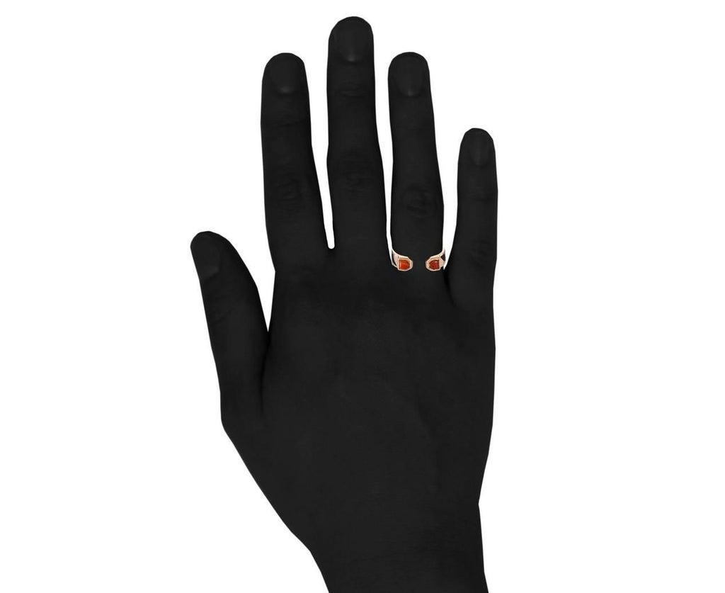 Deco Coral and Black Enamel Shark Fin Jali Ring - TWISTonline