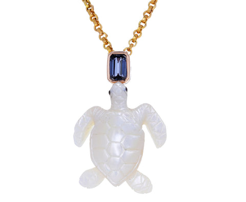 Carved Pearl Turtle and Sapphire Pendant ONLY