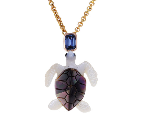 Carved Pearl and Sapphire Turtle Pendant ONLY