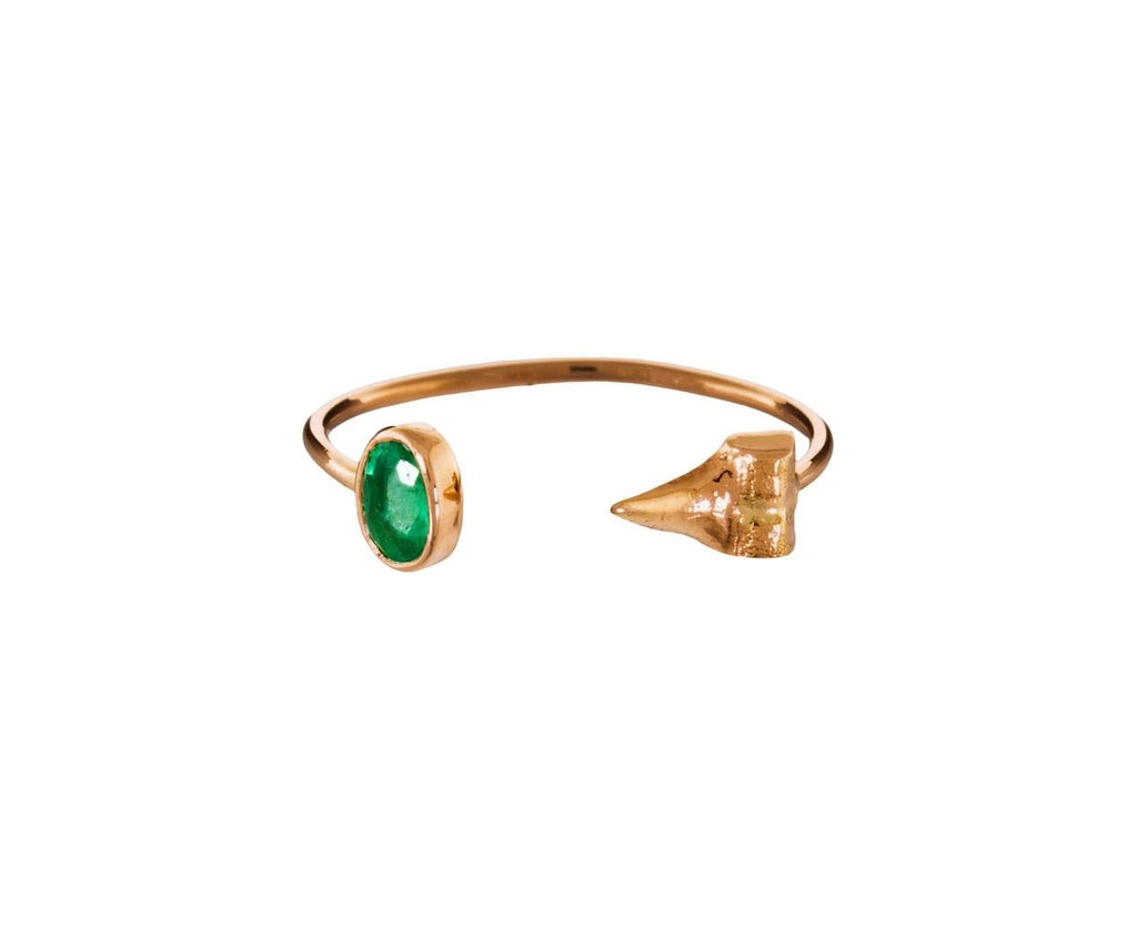 Petite Shark Tooth and Emerald Cuff Ring - TWISTonline