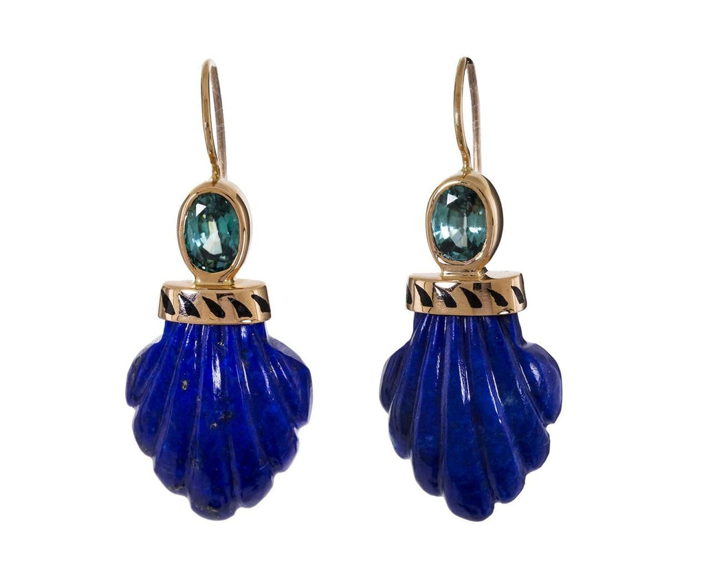 Lapis Carved Shell and Aqua Topaz Earrings - TWISTonline