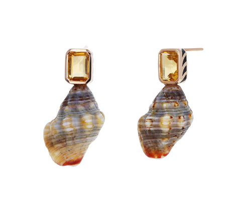 Natural Shell and Citrine Earrings