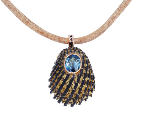 Nerita Shell with Blue Zircon Leather Necklace