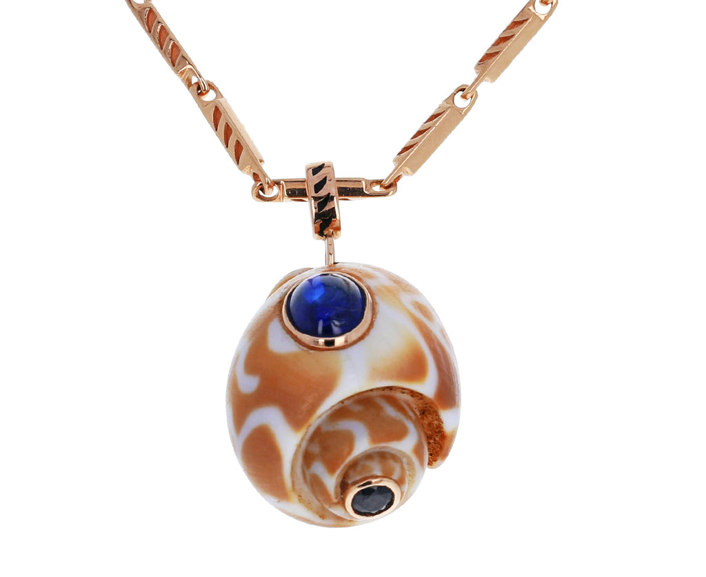 Babylonia Shell with Kyanite and Sapphire Pendant ONLY