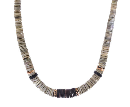 Classic Gray Puka Shell and Shark Fin Bead Necklace - TWISTonline