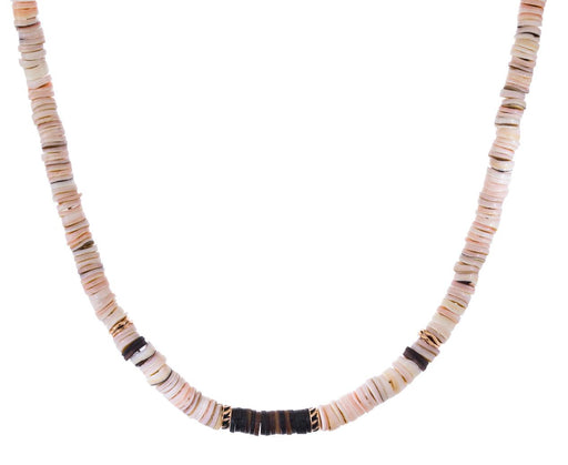 Classic Pink Puka Shell and Shark Fin Bead Necklace - TWISTonline