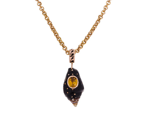 Ocellata Shell and Yellow Tourmaline Pendant ONLY - TWISTonline
