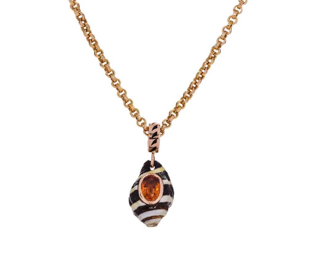 Natural Striped Shell and Orange Sapphire Pendant ONLY