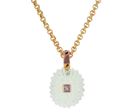 Carved Lemon Quartz Sea Urchin with Diamond Pendant ONLY