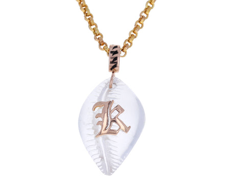 K Initial Carved Crystal Cowry Shell Pendant ONLY