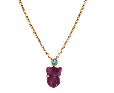 Ruby Fish and Oval Apatite Charm Pendant ONLY