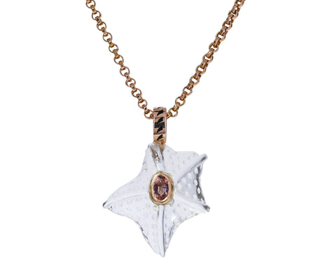Crystal Starfish and Garnet Pendant ONLY