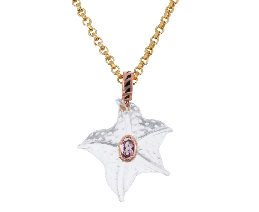 Carved Starfish and Pink Garnet Pendant ONLY