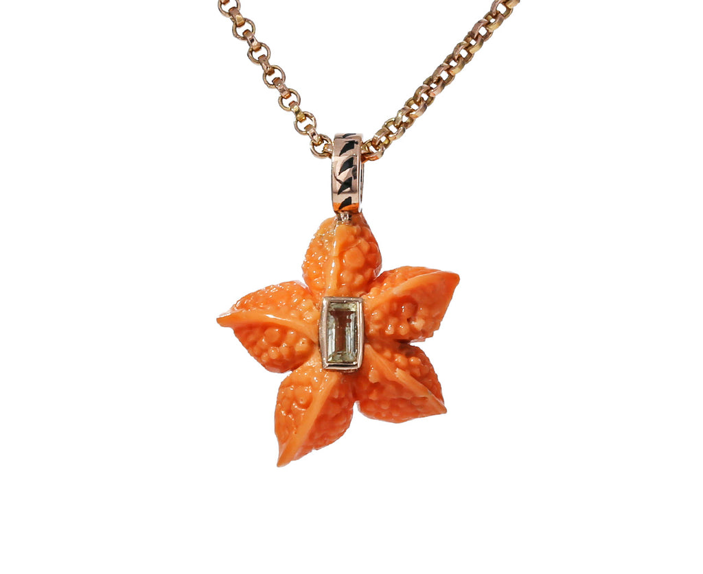 Coral Starfish and Beryl Pendant ONLY
