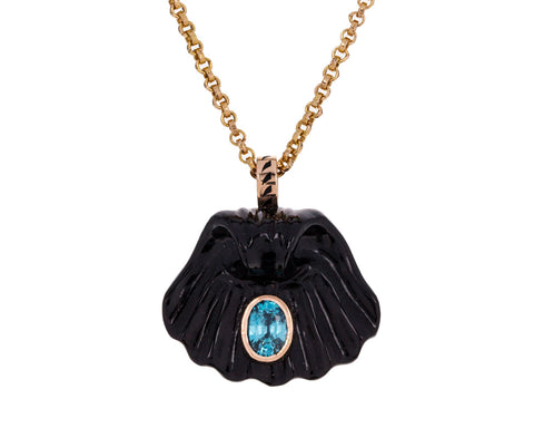 Carved Onyx Capri Shell with Blue Topaz Pendant ONLY - TWISTonline