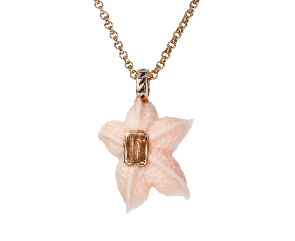Coral Starfish and Topaz Pendant ONLY