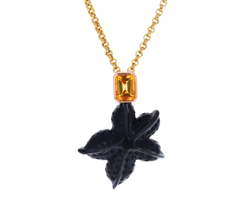 Carved Tigers Eye Starfish with Citrine Pendant ONLY