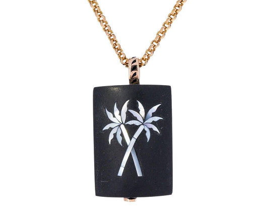 Black Jade with Mother-of-Pearl Palm Tree Pendant ONLY - TWISTonline