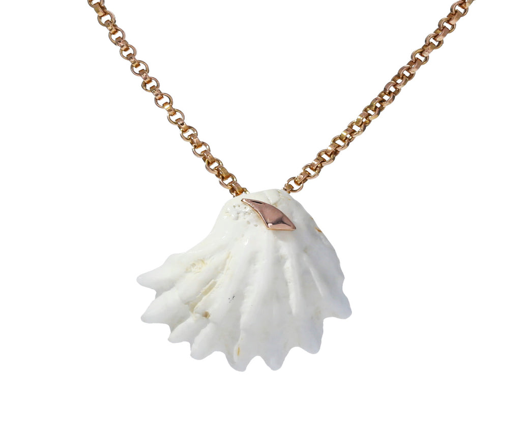 Gold Shark Fin and White Shell Pendant ONLY