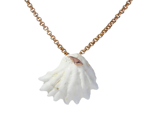 Gold Shark Fin and White Shell Pendant ONLY - TWISTonline